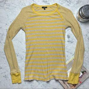 Gap Long Button Striped Thermal Long Sleeve Shirt